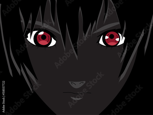 Anime eyes. Red eyes on black background. Anime face from cartoon. Vector illustration - 158557722
