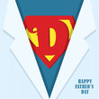 Happy Father's Day. Super dad icon or symbol and blue shirt. Vector illustration.
