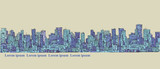 City panorama, hand drawn cityscape, vector drawing architecture illustration - 158563766