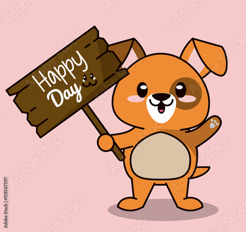 pink color background with cute kawaii animal dog standing with wooden sign happy day vector illustration