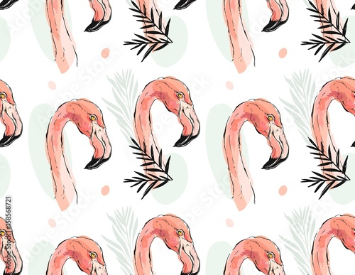 Hand drawn vector abstract artistic seamless pattern of tropical exotic paradise birds pink flamingos in pastel colors with exotic palm leaves isolated on white background. - 158568721