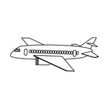 commercial airplane sideview icon image vector illustration design  black line
