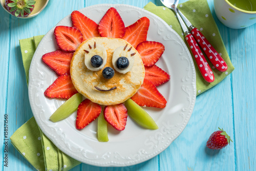 Pancakes with berries for kids