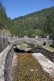 little stone bridge mountain landscape summer season