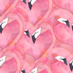 Seamless pattern with watercolor pink flamingo couple in the shape of a heart
