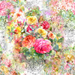 Watercolor painting of leaf and flowers, seamless pattern - 158576345