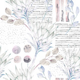 Floral seamless pattern. Abstract watercolor illustration. Grunge background