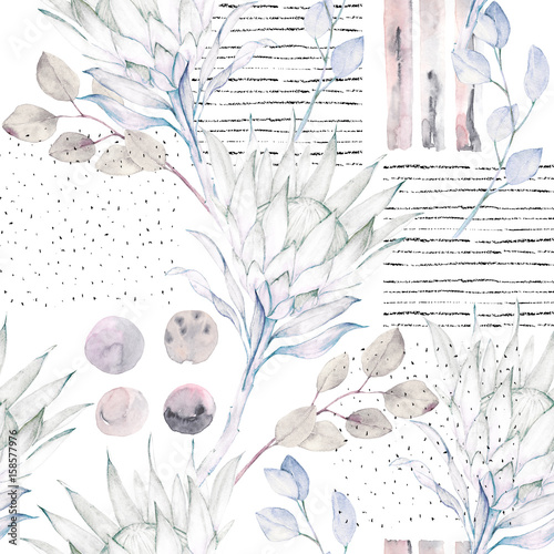 Floral seamless pattern. Abstract watercolor illustration. Grunge background - 158577976