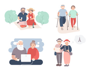 Set of happy elderly couple. Grandparents in different situations collection. Active lifestyle of old people. Colorful vector illustration in cartoon style.