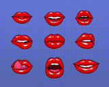Fototapety Set of different female red lips. Fashion patches elements, badges collection. Comics mouth with smile, tongue, teeth, kiss on purple background. Vector colorful illustration in pop art style.