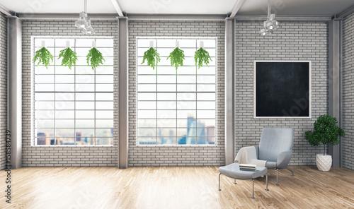 Stanza, open space, attico nuovo design moderno, 3d render   Buy ...