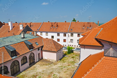 The roofs of the houses in the town of Mikulov