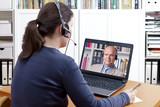 Fototapety woman headset video call professor