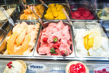 various flavors of gelato icecream in italy