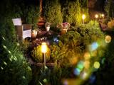 Illuminated home garden fountain patio - 158602584