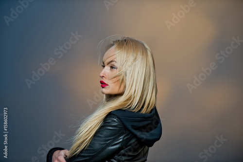 portrait of girl with red lips in black leather jacket Poster
