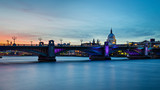 St Paul's cathedral and the Thames after sunset