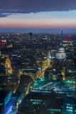 St. Paul's and the Bank of England seen from above at nightfall
