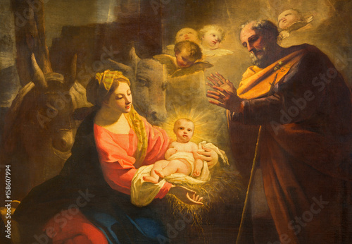 TURIN, ITALY - MARCH 13, 2017: The detail of painting of Nativity in Duomo by Giovanni Comandu da Mondovi (1795). © Renáta Sedmáková