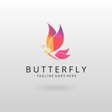 Butterfly logo. Polygonal butterfly logotype