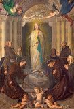 TURIN, ITALY - MARCH 13, 2017: The Painting of Immaculate Conception of Virgin Mary among the saints (St. Bernardin, Bonaventure, Agnes, Lucy) by Enrico Reffo (1831 - 1917). - 158610562