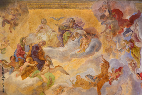 TURIN, ITALY - MARCH 13, 2017: The ceiling fresco (Holy Trinity with the Virgin Mary and St Poster