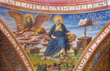 BERLIN, GERMANY, FEBRUARY - 15, 2017: The fresco of St. Mark the Evangelist in cupola of Rosenkranz Basilica by Friedrich Stummels, Karl Wenzel, and Theodor Nuttgens from begin of 20. cent.