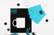 Flatlay with aqua desktop items