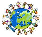 Fototapety Kinder der Erde machen zusammen Musik