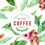 label on background with watercolor coffee plant - 158627910