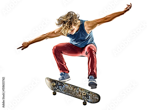 Fotobehang Skateboard one caucasian skateboarder young teenager man skateboarding isolated on white background