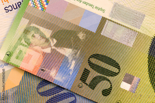 Close Up Swiss Francs Currency Note Chf