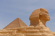 Great Pyramid behind Great Sphinx in Giza, Egypt
