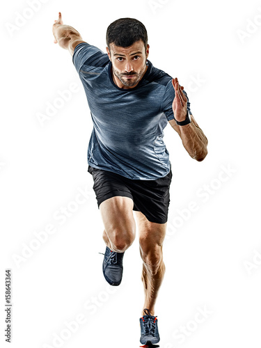 Poster Jogging one caucasian man runner jogger running jogging isolated on white background with shadows