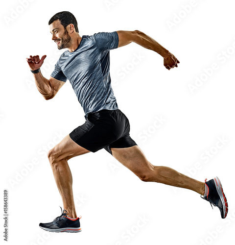 Foto Spatwand Hardlopen one caucasian man runner jogger running jogging isolated on white background with shadows