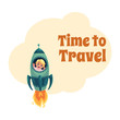Time to Travel postcard, banner, poster design with little boy flying in rocket, spaceship, looking out of illuminator, cartoon vector illustration isolated on white background.