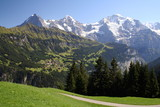 Beautiful view of the mountains of the Bernese Alps from the village of Isenfluh, canton of Bern, Switzerland