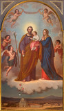 TURIN, ITALY - MARCH 15, 2017:  The painting of Holy Family in church Basilica Maria Ausiliatrice by Tommaso Lorenzone (1824  - 1902). - 158646551