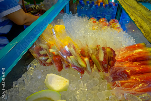 Fresh juice and fruit market stand in downtown Kuala Lumpur