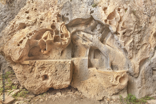 Relief of dragon in the Dragon's cave near Bol on Island of Brac, Croatia Poster