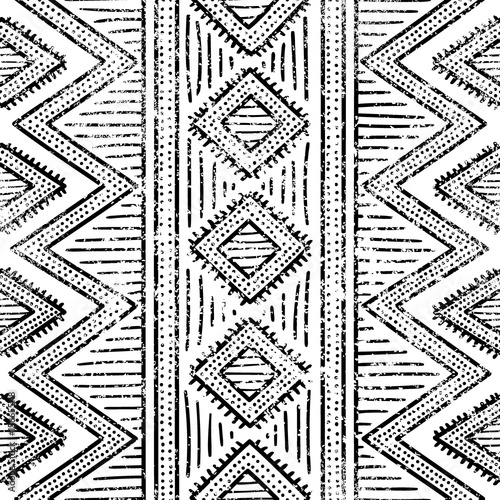 Cotton fabric Seamless geometric pattern. Print for your textile. Ethnic and tribal motifs. Black and white ornament. Grungy texture.
