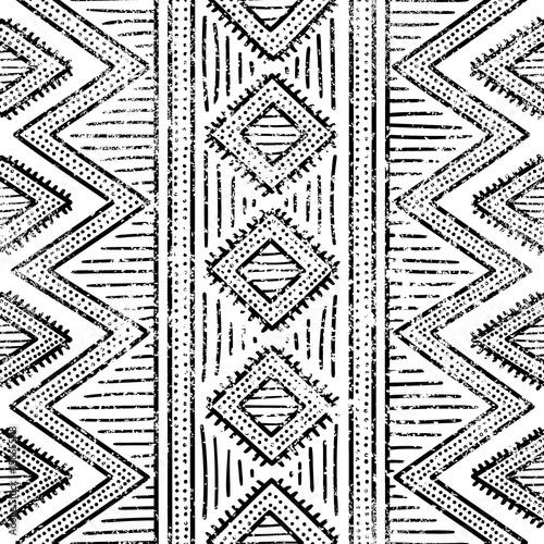 Materiał do szycia Bezszwowe wzór geometryczny. Drukuj do Twojego włókienniczych. Etniczne i plemienne motywy. Czarno-białe ornament. Streszczenie tekstura.