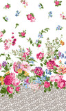 Flowers on the border textile pattern