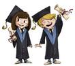 niños felices graduados