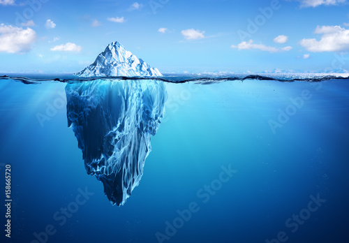 Leinwanddruck Bild Iceberg - Hidden Danger And Global Warming Concept