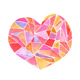 Lovely Cartoon Watercolor love heart valentines pattern.Colorful heart with geometric print illustrations isolated on white background. Perfect for valentines holiday.Good for love card, valentine day