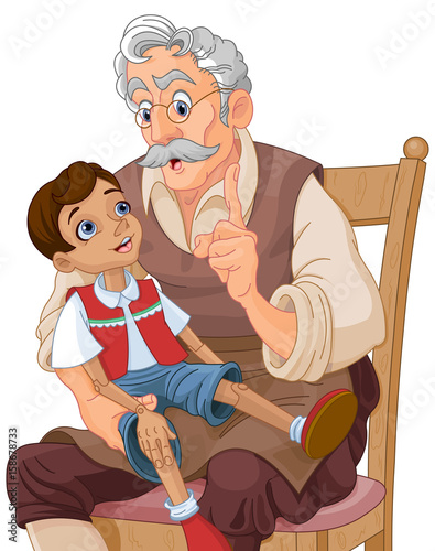 Tuinposter Sprookjeswereld Mister Geppetto and Pinocchio