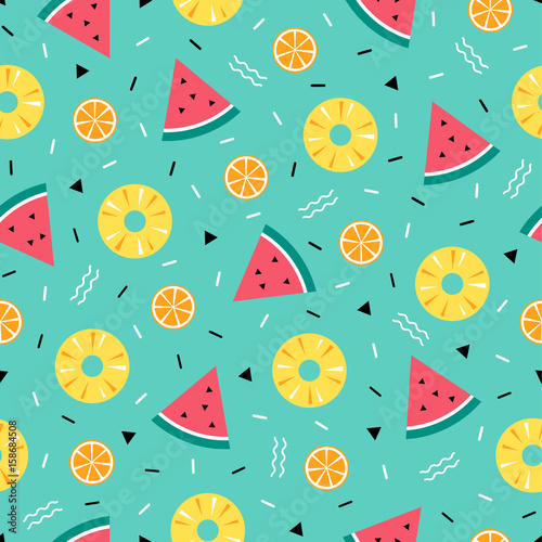 Colorful summer pattern with fruits and geometric elements in memphis style background - 158684508