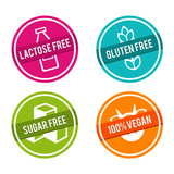 Set of Allergen free Badges. Lactose free, Gluten free, Sugar free, 100% Vegan. Vector hand drawn Signs. Can be used for packaging Design. - 158703920