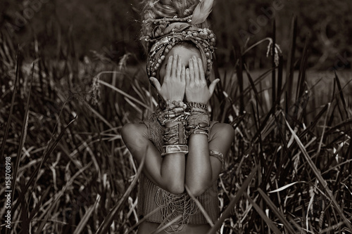 attractive boho woman outdoors at jungle background - 158708918